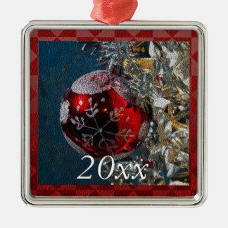 Personalisiertes rotes und silbernes silbernes ornament