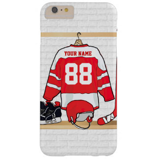 Personalisiertes rotes und weißes Eis-Hockey Barely There iPhone 6 Plus Hülle