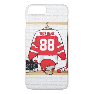 Personalisiertes rotes und weißes Eis-Hockey iPhone 7 Plus Hülle
