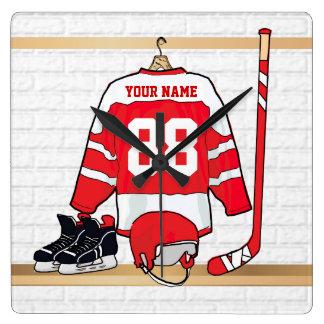 Personalisiertes rotes und weißes Eis-Hockey Wanduhren