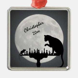 Personalisiertes Schach-Vollmond-Katzen-und Quadratisches Silberfarbenes Ornament