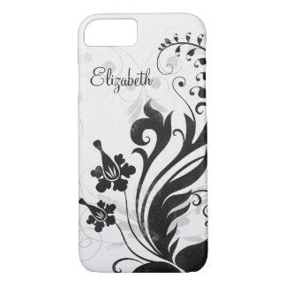Personalisiertes Schwarz-weißes Blumen iPhone 7 Hülle