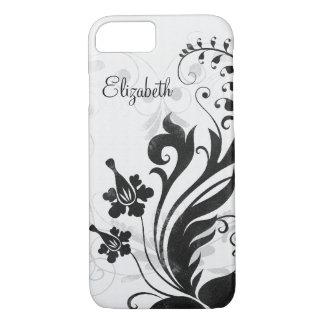Personalisiertes Schwarz-weißes Blumen iPhone 8/7 Hülle