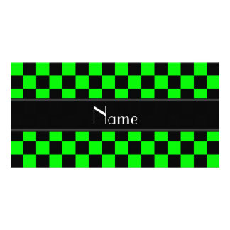 Personalisiertes schwarzes und grünes fotogrußkarten