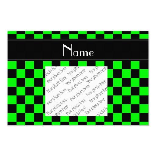 Personalisiertes schwarzes und grünes fotografischer druck