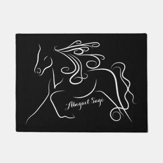 Personalisiertes Schwarzweiss-Silhouette-Pferd Türmatte