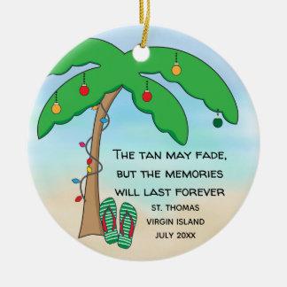Personalisiertes tropisches Strand-Weihnachten Keramik Ornament