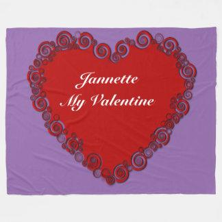 Personalisiertes Valentine-Herz Fleecedecke