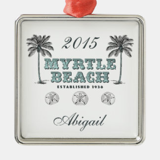 Personalisiertes Vintages Myrtle Beach South Quadratisches Silberfarbenes Ornament