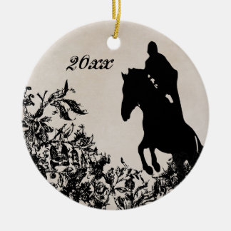 Personalisiertes Vintages Reiterpferdespringen Keramik Ornament