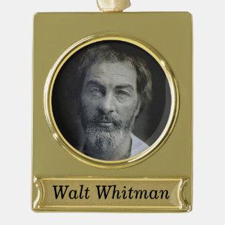 Personalisiertes Walt Whitman Porträt Banner-Ornament Gold