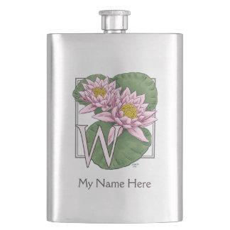 Personalisiertes Wasser-Lilien-Monogramm Flachmann