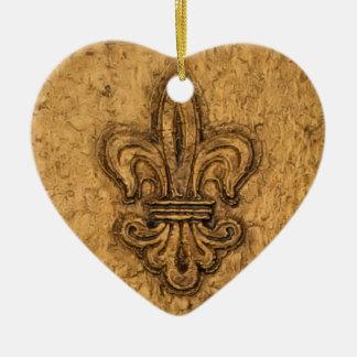 Personalisiertes Weihnachten der Lilien-| Keramik Herz-Ornament