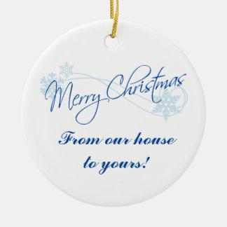 Personalisiertes Weihnachten von unserem Haus zu Keramik Ornament