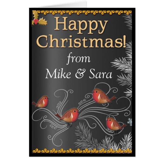 Personalisiertes Weihnachtskarten-Schwarzes, Gold Grußkarte
