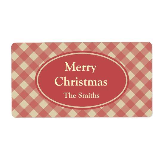 Personalisiertes Weihnachtsrote Großer Adressaufkleber