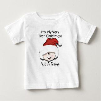 Personalisiertes weißes Baby-1. Weihnachtst-shirt Baby T-shirt