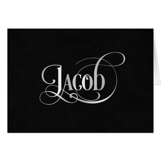 Personalisiertes Wirbles Skript-Jakob-Silber auf Karte