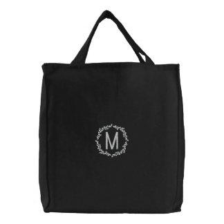 Personalisiertes Wreath-Monogramm Bestickte Einkaufstaschen
