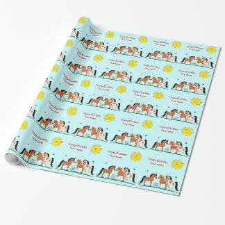 Personalizied Pferdefreund-Packpapier Geschenkpapier