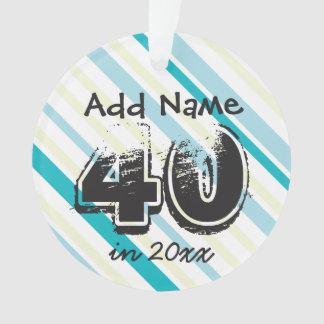 Personifizieren Sie 40. Geburtstags-blaues Grün Ornament