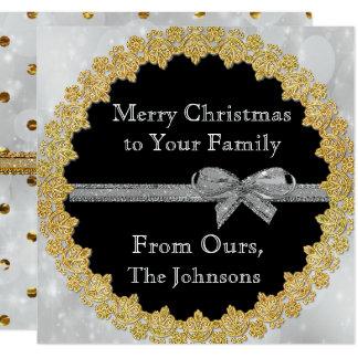 Personifizieren Sie dieses Gold und silberne Quadratische 13,3 Cm Einladungskarte