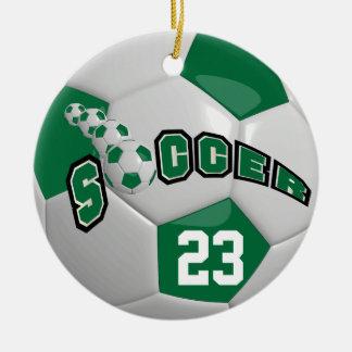 Personifizieren Sie Fußball dunkelgrünes | Rundes Keramik Ornament