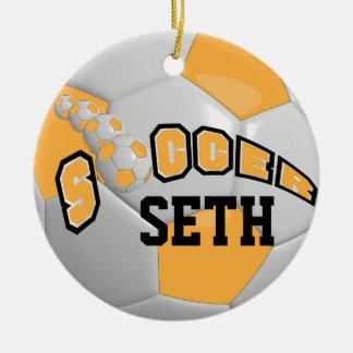 Personifizieren Sie Gold des Fußball-  Keramik Ornament