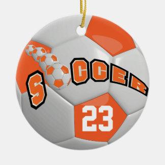 Personifizieren Sie Orange des Fußball-| Keramik Ornament