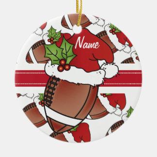 Personifizieren Sie Sankt Hut-Weihnachtsfußball Rundes Keramik Ornament