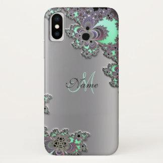 Personifizieren Sie silbernen metallischen Fraktal iPhone X Hülle