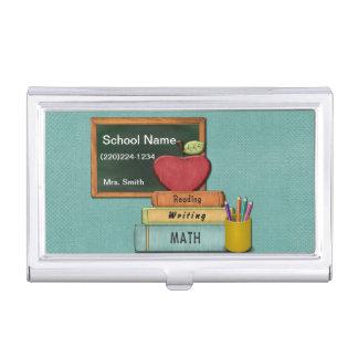 Personifizieren Sie Teachers', Apple, Bücher und Visitenkarten-Behälter