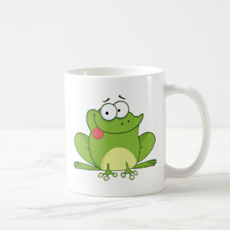 Personnage de dessin animé de grenouille traînant mug