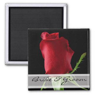Personnaliser d'autocollants de mariage de rose aimants