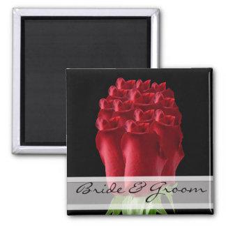 Personnaliser de magnet de mariage de rose rouge p