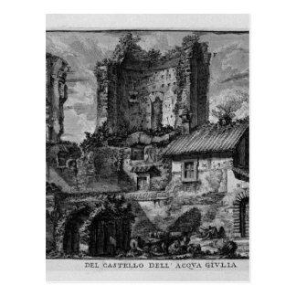 Perspektive der Front der Schloss-Ruinen Postkarte