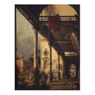 Perspektive mit einem Portico durch Canaletto Postkarte