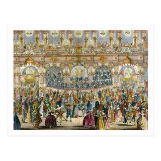 Perspektiven-Ansicht des Ballsaals, konstruiert in Postkarte