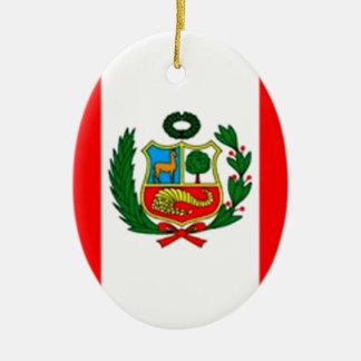 Peru-Flagge Ovales Keramik Ornament