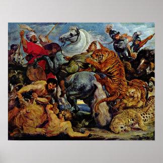 Peter Paul Rubens - Tiger- und Löwejagd Poster