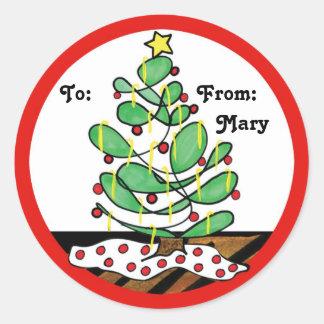 Petit arbre de Noël lunatique Sticker Rond