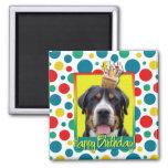 Petit gâteau d'anniversaire - un plus grand chien  magnets