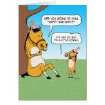 Petite carte d'anniversaire drôle de cheval