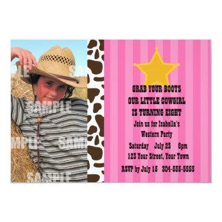 Petite fête d'anniversaire de cow-girl carton d'invitation  12,7 cm x 17,78 cm