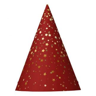 Petite goldenes Stern-Party-Hut-Rot Partyhütchen