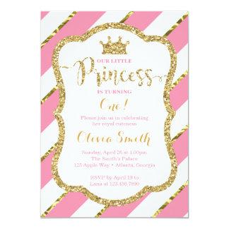 Petite princesse Birthday Invitation en rose et or