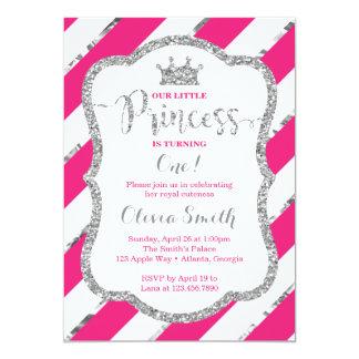 Petite princesse Birthday Invitation Pink Silver