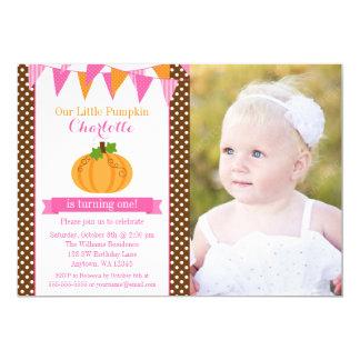 Peu d'anniversaire orange de photo de fille de carton d'invitation  12,7 cm x 17,78 cm