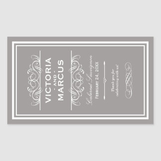 Pewter Wedding Wine Bottle Monogram Favor Labels Rechteckiger Aufkleber
