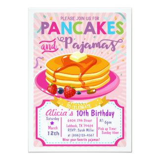 Pfannkuchen-Pyjama-Geburtstag laden Mädchen-Party 12,7 X 17,8 Cm Einladungskarte
